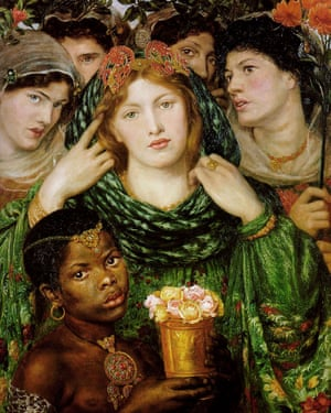 Eaton also appears, back right, in Rossetti's The Beloved.