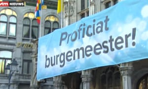 The banner on Mechelen city hall reads: Congratulations, mayor!