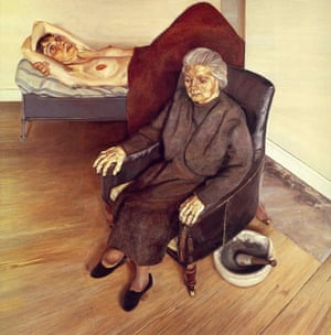 Large Interior W9 ( 1973), by Lucian Freud. The seated woman is his mother