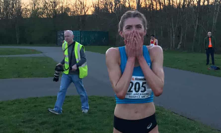 Beth Potter after her 5km record in Barrowford, Lancashire