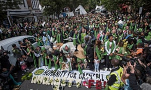 A memorial march for victims of the Grenfell fire