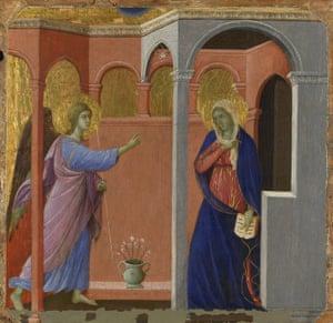 The Annunciation 1307/8-11, Duccio, part of the group Maestà predella panels.
