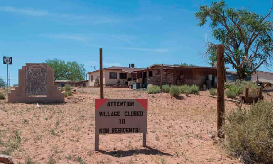 A sign warns non-residents to stay out of the town of Tuba City in Arizona.
