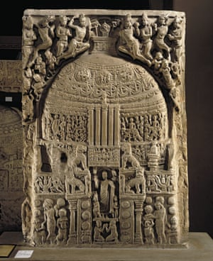 A two-sided limestone relief from the Great Shrine at Amaravati.