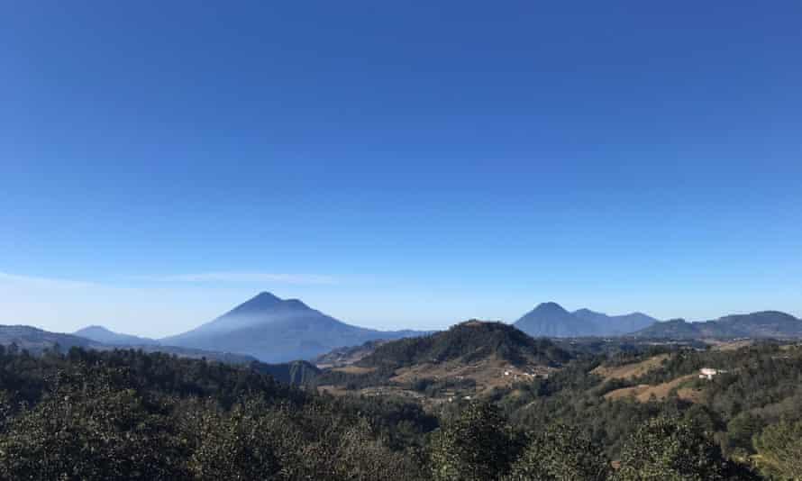 View of Lake Atitlan in the distance, in Guatemala.
