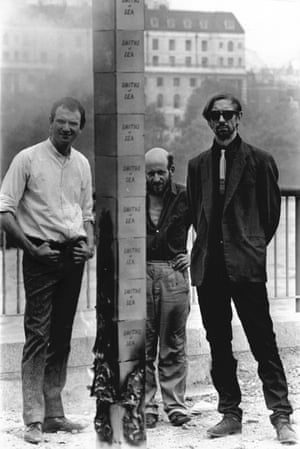 John Latham, right, with Ivor Davies and Gustav Metzger in 1966.