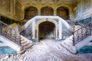 An abandoned house in France captured by 'Urban photographer' Roman Robroek. See Masons copy MNABANDONED: This stunning series of pictures reveal the interiors of beautiful but abandoned buildings across Europe. The images show crumbling frescoes inside deserted villas, overgrown palace conservatories and winding castle staircases. 'Urban photographer' Roman Robroek spent five years scouring the continent to find and photograph the grandest examples of forgotten architectural beauty.