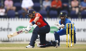 Heather Knight of England plays a shot against India during the T20 tri-series in Melbourne.