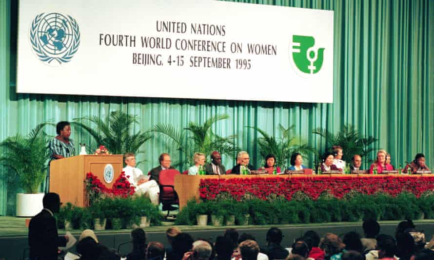 Delegates convene at the opening of the Fourth World Conference on Women in Beijing in 1995