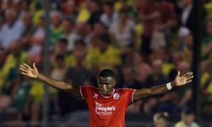 Bez Lubala, Crawley's matchwinner, celebrates at the final whistle