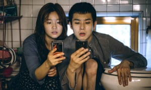 Parasite lost … The Kim children Ki-jung (Park So-dam) and Ki-woo (Choi Woo-sik) in their cramped home.