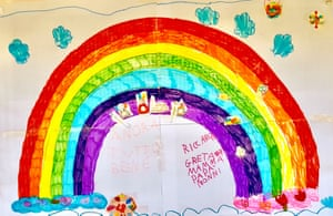 A drawing of a rainbow by Greta and Riccardo