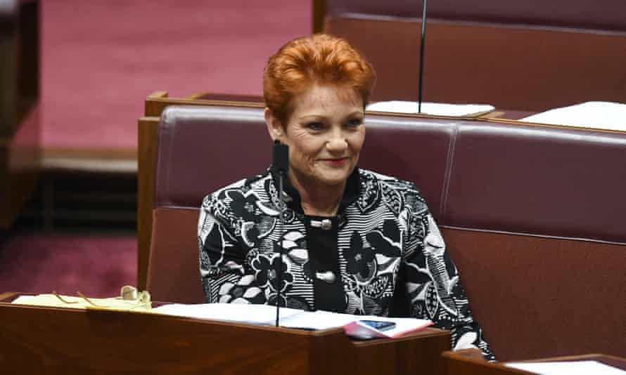 One Nation party leader Pauline Hanson during debate in the Senate chamber at Parliament House in Canberra, October 15, 2018.