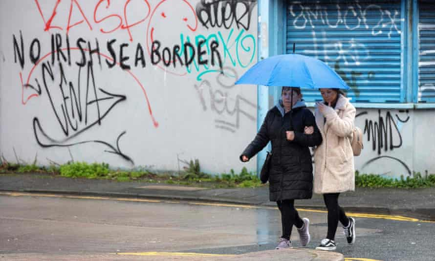 Graffiti in south Belfast references checks between Great Britain and Northern Ireland.