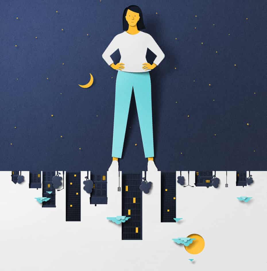 illustration of woman standing over cutouts of sleeping town