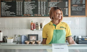 Owner Tanisha Broady photographed behind the counter at her cafe Rock of Virtue