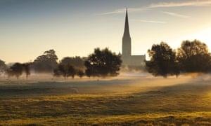 Salisbury cathedral's 123-metre spire seen from Harnham water meadows.