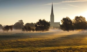 Salisbury Cathedral on a misty autumn morning