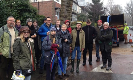 Alison Teal and tree protesters in Sheffield.