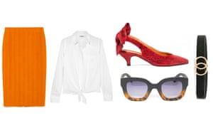 Skirt, £15.99, zara.com Shirt, £90 by Madewell from net-a-porter.com Heels, £200 by Ganni from net-a-porter.com Sunglasses, £14, asos.com Belt, £10, missselfridge.com
