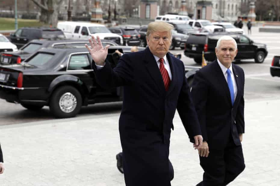 Donald Trump with vice-president Mike Pence on Capitol Hill earlier this week.