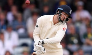 England's James Vince ducks a bouncer from Australia's Mitchell Starc during the third Test.