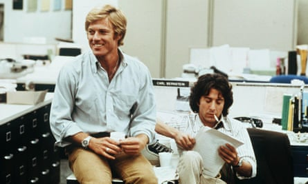 'How do you spell Watergate?' Robert Redford and Dustin Hoffman in All the President's Men.