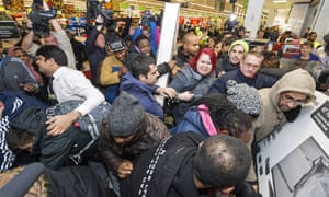 Consumer free-for-all: bargain-hunters in action on Black Friday in 2014.