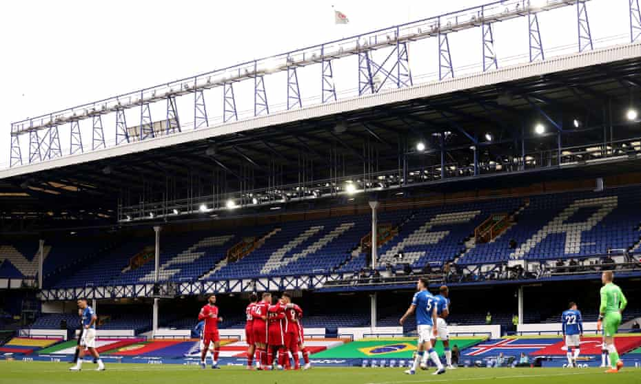 Liverpool celebrate Mohamed Salah's goal during the thrilling 2-2 Merseyside derby draw in October played in front of an empty Goodison Park.