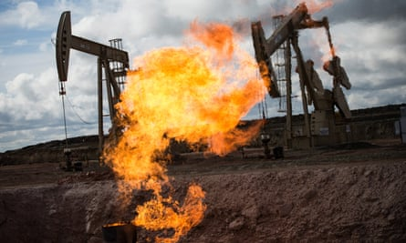 Gas flare at oil well site