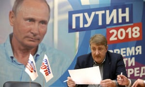 Vladimir Putin's election campaign office. 'Putin, projecting strength and continuity, knows he will win by a landslide.'