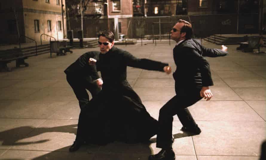 Keanu Reeves and Hugo Weaving in The Matrix Reloaded.