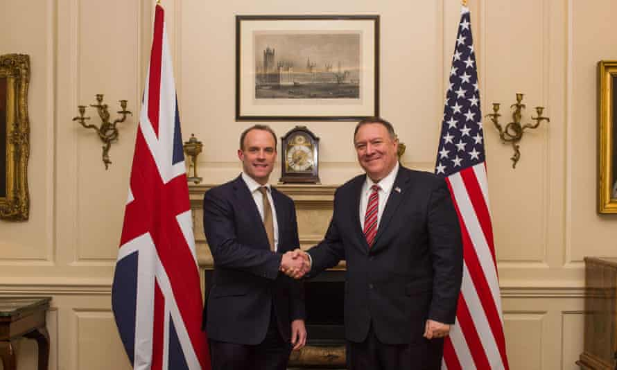The foreign secretary, Dominic Raab, meets the US secretary of state, Mike Pompeo, in London.