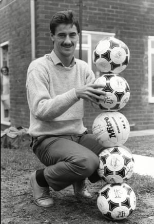 Ian Rush celebrates at home the day after his five-goal haul against Luton.