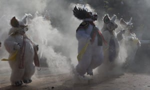 Dancers perform the traditional dance of the devils during carnival celebrations in Oruro, Bolivia.