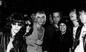Joey Ramone, Tommy Ramone, Iggy Pop, Danny Fields (obscured, co-manager of The Ramones), Seymour Stein, Linda Stein (also co-managed the Ramones), Dee Dee Ramone and Johnny Ramone. (Photo by Roberta Bayley/Redferns)