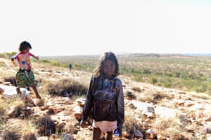Anastacia Jumburra and and Lizinta Jumburra (back left) at a look out shortly after you leave the Wunaamin Miliwundi Ranges; formerly known as the King Leopold Ranges.