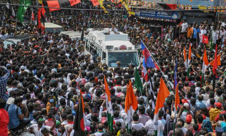 Thousands come together for election campaign rallies ahead of the elections, like this one in Chennai on 4 April