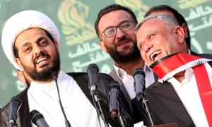 The PMF's Sheikh Qais al-Khazali, left, and Hadi al-Ameri, right.