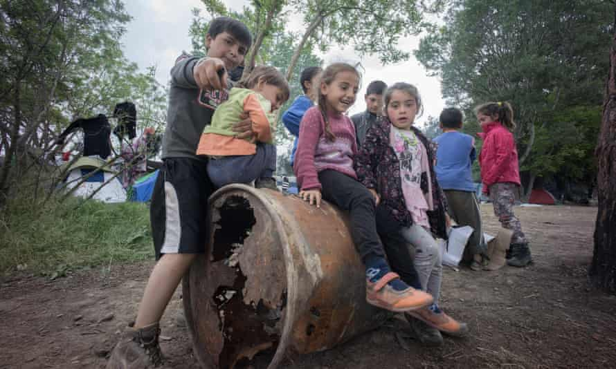 A group of refugee children seen playing at the refugee camp in Idomeni, Greece.