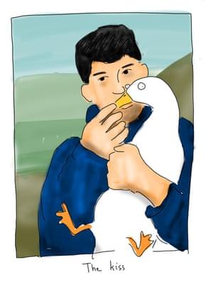 Mansour Shoushtari kissing a duck.