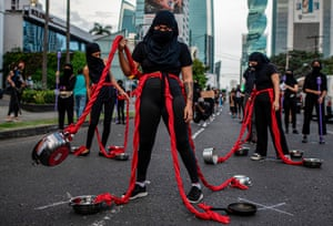 Panama City: A group of women perform during a protest against the alleged corruption and the lack of gender equality measures