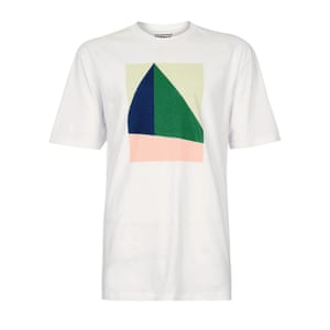 white t-shirt with green, peach, green, blue cream graphic on front Topman