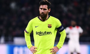f83e24606d2 Lionel Messi was left frustrated after Barcelona drew 0-0 in Lyon.  Photograph  Franck Fife AFP Getty Images
