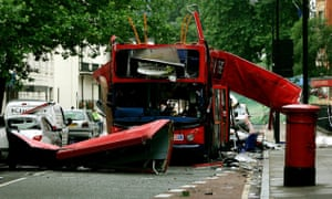Bus destroyed by 7 July bombing in London.