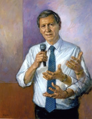 Lord (Anthony) Giddens by Michael Noakes, with 'extra' limbs to signify movement