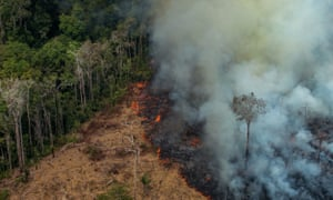 A patch of forest being cleared with fire in the municipality of Candeias do Jamari in the Amazon basin in north-western Brazil, on Saturday.