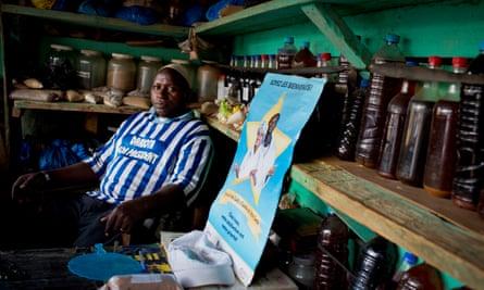 Mory Kaba, a traditional healer, in his shop in Kissidougou, Guinea.