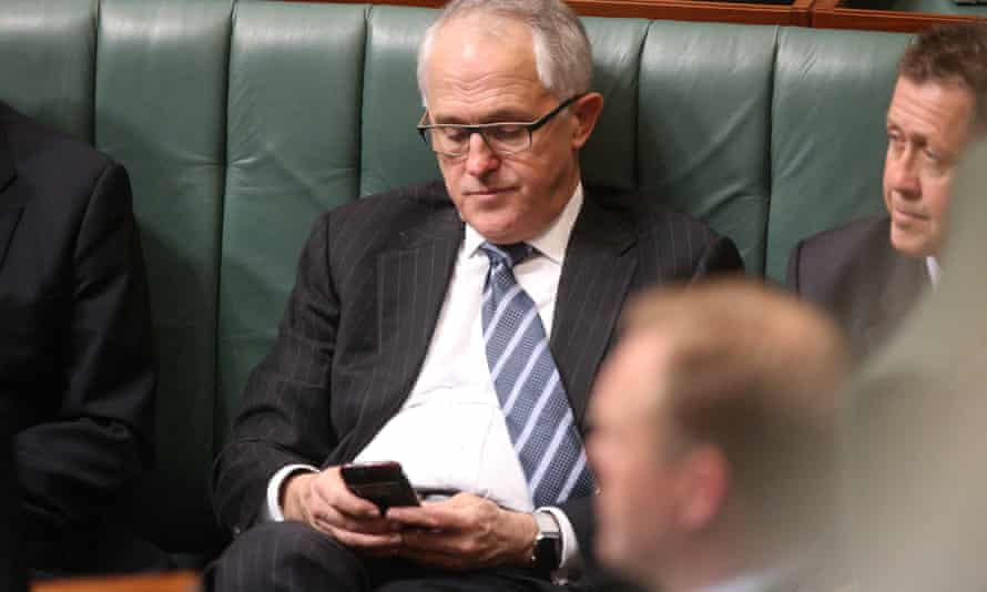 Malcolm Turnbull using his mobile phone