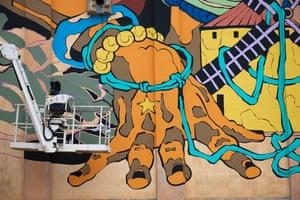 Detail from Bicicleta sem Freio's mural